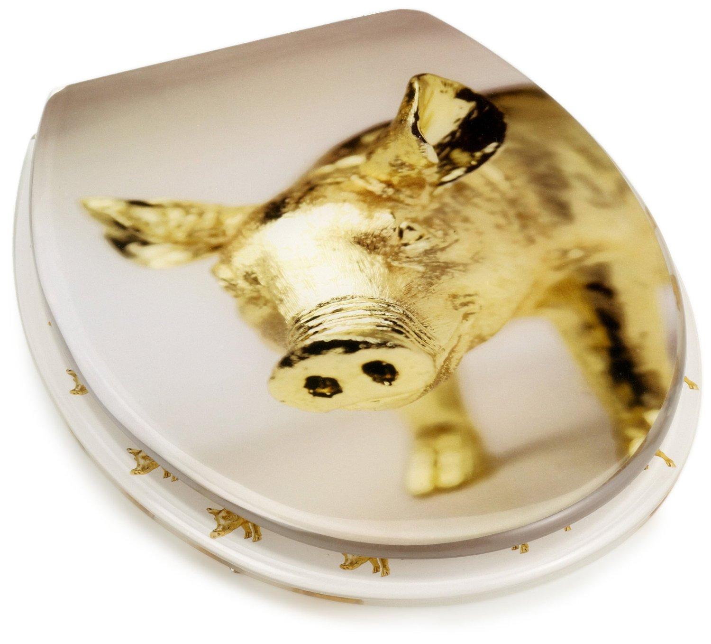 Lustiger WC Deckel: Hausschwein in Gold